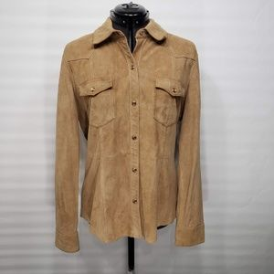 Gap Suede Leather Button Down Jacket Top Sz Large